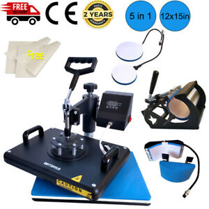 12 x15 Combo 5in1 Heat Press Machine Sublimation T shirt Swing Away For Mug Hat