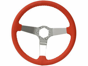 1967 1982 Corvette Red Leather 3 Spoke Chrome Steering Wheel
