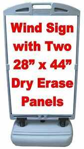 Wind Frame Sandwich Board Sidewalk Sign 2x 28 X 44 Dry Erase Panels
