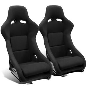 2 X Universal Black Cloth Left Right Pole Position Racing Bucket Seats Sliders