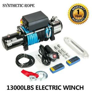 12v 13000lbs Electric Winch Towing Truck Synthetic Rope 2 Wireless Remote New