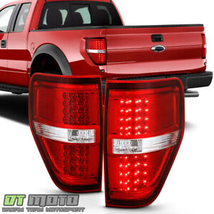 2009 2010 2011 2012 2013 2014 Ford F150 Red Clear Led Tail Lights Brake Lamps