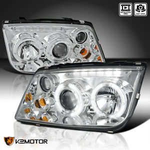 For 1999 2004 Vw Jetta Led Halo Drl Projector Headlights W Built in Fog Lamps