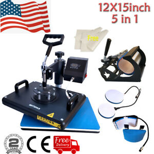 5in1 12 x15 Heat Press Machine Swing Away Printing Transfer For T shirt Mug Cup