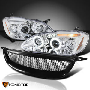 For 2003 2008 Toyota Corolla Clear Led Dual Halo Projector Headlight Mesh Grille