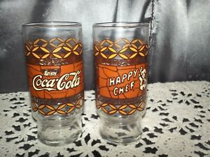 Lot of 2 Coca Cola Drinking Glass Happy Chef Restaurant 1981 Brown 6