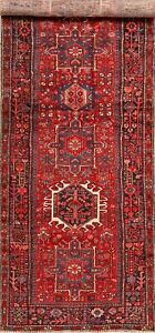 Excellent Geometric Tribal Red Wide Runner Gharajeh Rug Hand Knotted Wool 5 X14