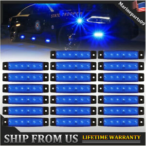 20 X Side Marker Light Blue Led 6 Smd Clearance Lights For Trailer Truck Rv Ford