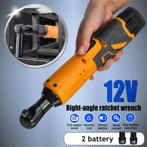 3 8 12v Electric Cordless Ratchet Right Angle Wrench Tool Set 2 Battery