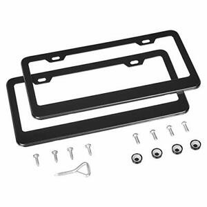 Slim Plain Metal License Plate Frame Car Truck Auto Cover Holder Color Black