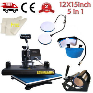 5in1 Combo Heat Press Machine Swing Away Digital Sublimation For T shirt Mug Hat