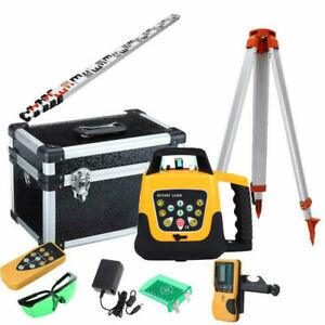 Green Beam 360 Self leveling Vertical Rotary Laser Level alu Tripod 5m Staff