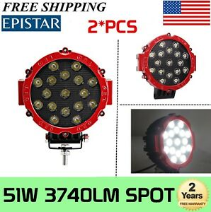 2x 7inch 51w Led Driving Light Spot Beam Offroad Truck 4x4wd Round Red Fog Lamp