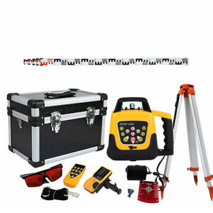 Automatic Self leveling 500m Red Beam 360 Rotary Laser Level Kit tripod Staff