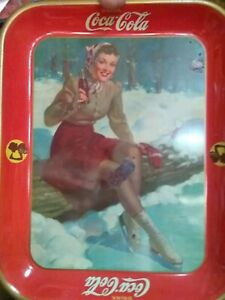 Coca Cola Tray Woman Skater Sitting On A Log 1937 Original