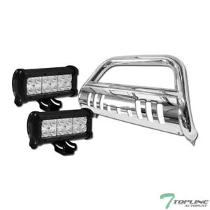 Topline For 2005 2015 Toyota Tacoma Stainless Bull Guard 36w Cree Led Light Bars