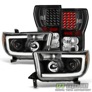 For Black 2007 2013 Toyota Tundra Projector Headlights led Tail Lamps 07 13