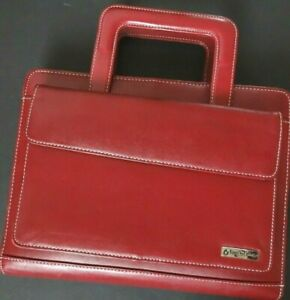 Franklin Covey Red Leather 7 Ring Binder Planner Retractable Handles