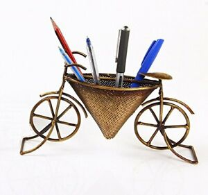Business Card Stand Pen Holder Miniature Metallic Vintage Decor Cycle 12 Oz