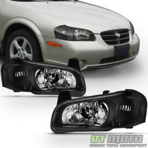 For 2000 2001 Maxima Black Jdm Headlights Headlamps Replacement 00 01 Left Right