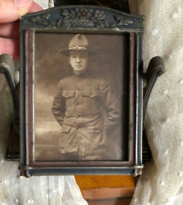 Antique Art Nouveau Rare Small Standing Dresser Frame Forget Me Not Soldier