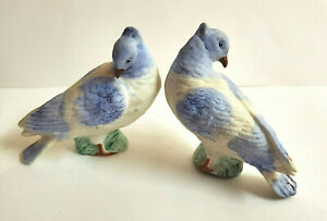 Antique Vintage Bisque Birds Figurines German Porcelain Miniatures Germany Blue