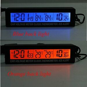 12v 24v Car Voltage Meter Lcd Digital Clock Time Temp Blue Orange Back Light