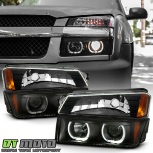 2002 2006 Chevy Avalanche Black Smoke Led Halo Projector Headlights bumper Lamps