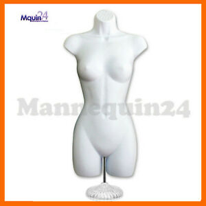 Female Torso Mannequin White Dress Body Form Table Top Stand Hanger