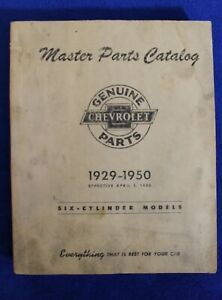 Vintage 1929 1950 Chevrolet Master Parts Catalog Book Auto Truck Six Cylinder