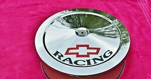 14x3 Chrome Air Cleaner With Bowtie Racing Decals Sbc 350 400 Stroker Chevy