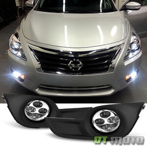 For 2013 2015 Altima Sedan 4 Quad Led Drl Fog Lights Driving Bumper Lamps switch