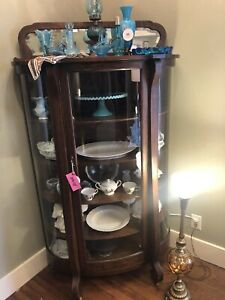 Antique American Oak Bow Front China Cabinet On Casters Beveled Mirror Top Nice