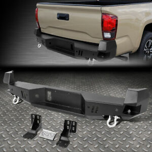 For 16 20 Toyota Tacoma Rear Heavy Duty Steel Step Bumper Face Bar W d rings