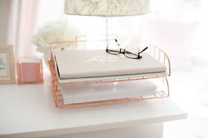 Blu Monaco Rose Gold Desk Organizer Stackable Paper Tray Set Of 2