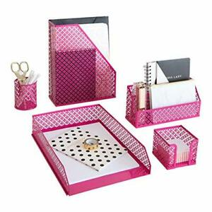 Blu Monaco Hot Pink Desk Organizer Set