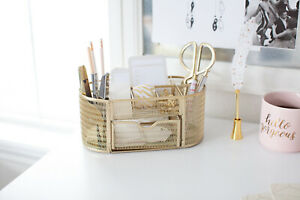 Blu Monaco Gold Desk Organizer With Drawer For Home Or Office