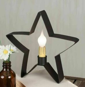 Country New Brown Tin Star Windowsill Accent Light