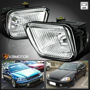 For 1996 1998 Honda Civic Clear Bumper Fog Lights Driving Lamps Pair Switch