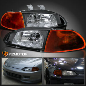 For 92 95 Honda Civic 4dr Eg Eh Black Headlights Smoke Amber Corner Lamps