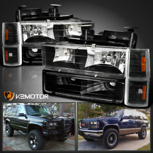 For 94 98 Gmc C k Sierra Yukon Black Headlights corner bumper Lamps W Bulbs