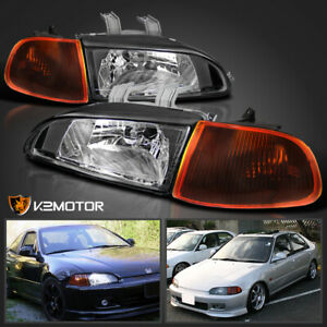 For 1992 1995 Honda Civic 2 3dr Eg Eh Black Headlights Amber Smoke Corner Lamps