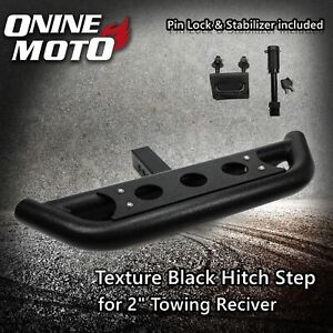 Texture Black Hitch Step With Pin Lock And Stabilizer For 2 Towing Receiver