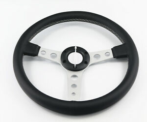 350mm Flat Black Leather White Stitch Off Road 6 Bolt Steering Wheel Horn