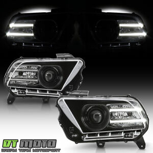2010 2014 Ford Mustang Black Halogen Projector Headlights W led Drl Tube Lh rh