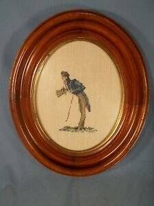 1880s 11x13 Deep Oval Walnut Picture Frame Victorian Man Needlepoint