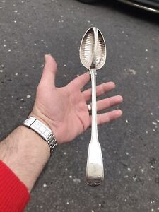Antique 19th Ce Solid Silver Rare Gravy Strainer Spoon London 1810 By Paul Storr