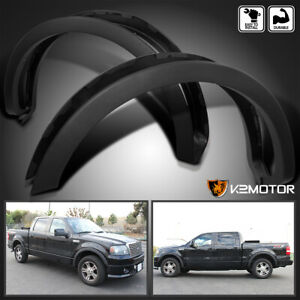For 2004 2008 Ford F150 Styleside Factory Style Wheel Covers Fender Flares Black