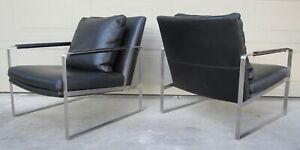 Pair Camerich Leman Black Leather Brushed Steel Lounge Chairs Milo Baughman