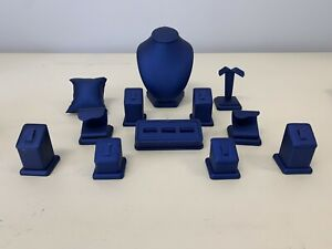 Assorted 12 Piece Navy Blue Leatherette Jewelry Display Set